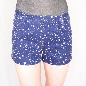 HARPER Denim Blue White Star Print Short Shorts